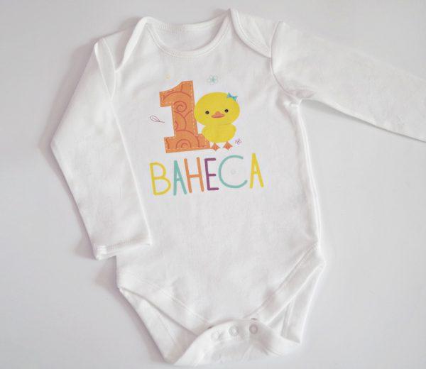 детска блуза с патенце и името и годините на детето