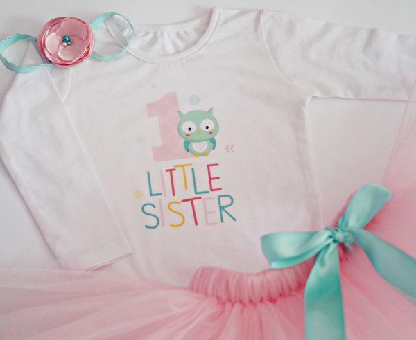 детски комплект с бухалче в бледо розово и ментово