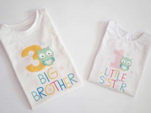 комплект детски блузи за братче и сестриче с бухалчета