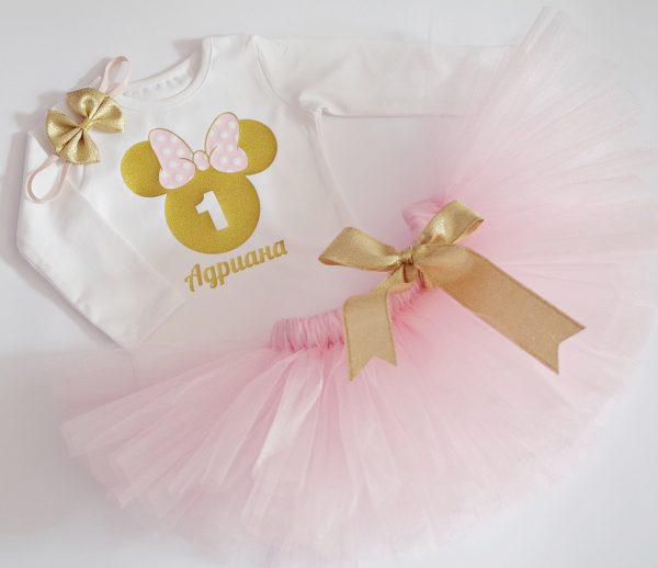 комплект мини маус в златно и розово с име и години на детето