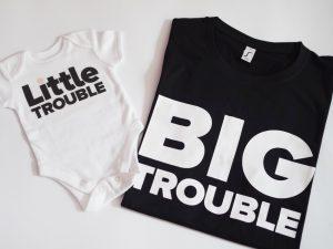 Комплект Блузки за бебе и татко Little trouble и Big trouble