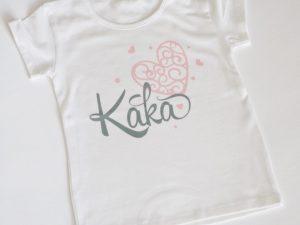 Персонализирана Тениска с надпис Кака и розово сърце
